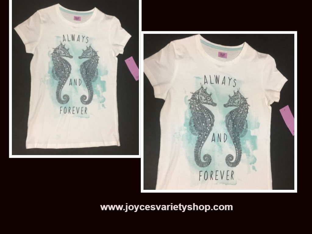 ALWAYS AND FOREVER Girl's T-Shirt Sz 10-12 NWT Seahorses