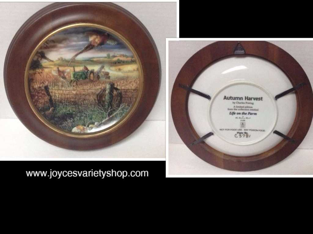 Autumn Harvest Life Farm Limited Edition John Deere Wood Framed Plate C3781