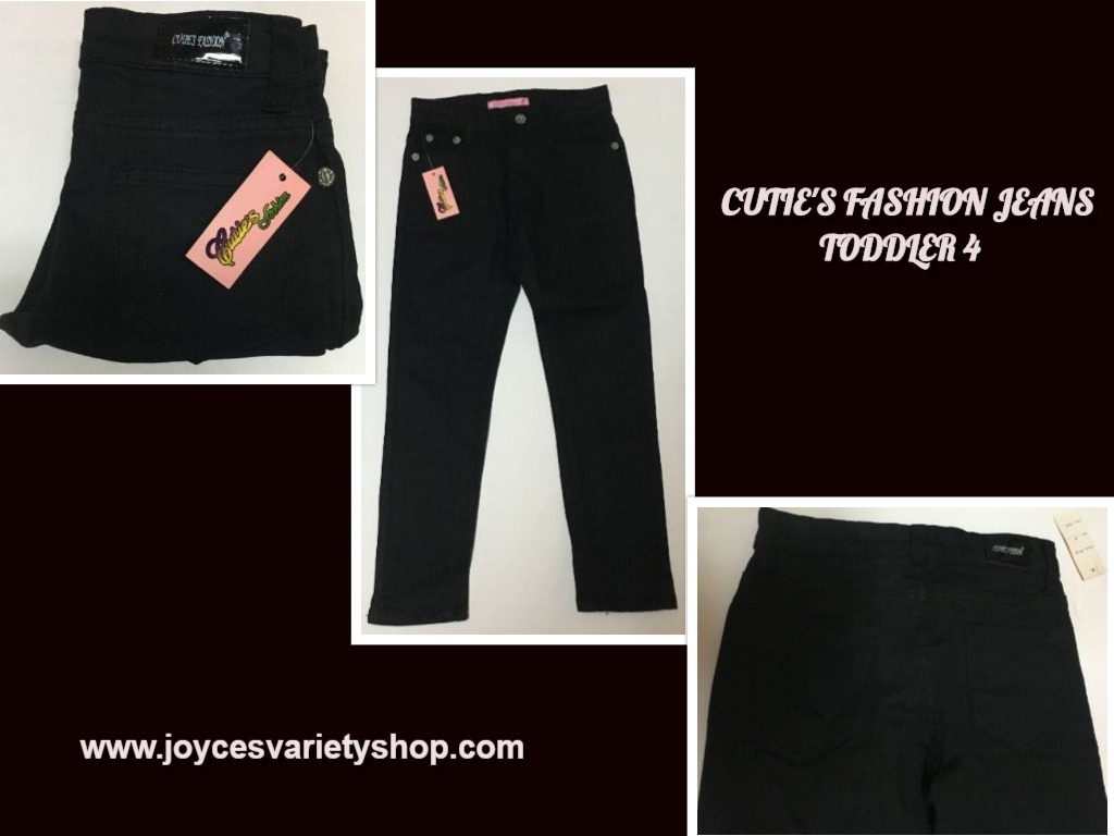 Cutie's Fashion Jeans Pants SZ 4 Toddler Stretch Waist Black
