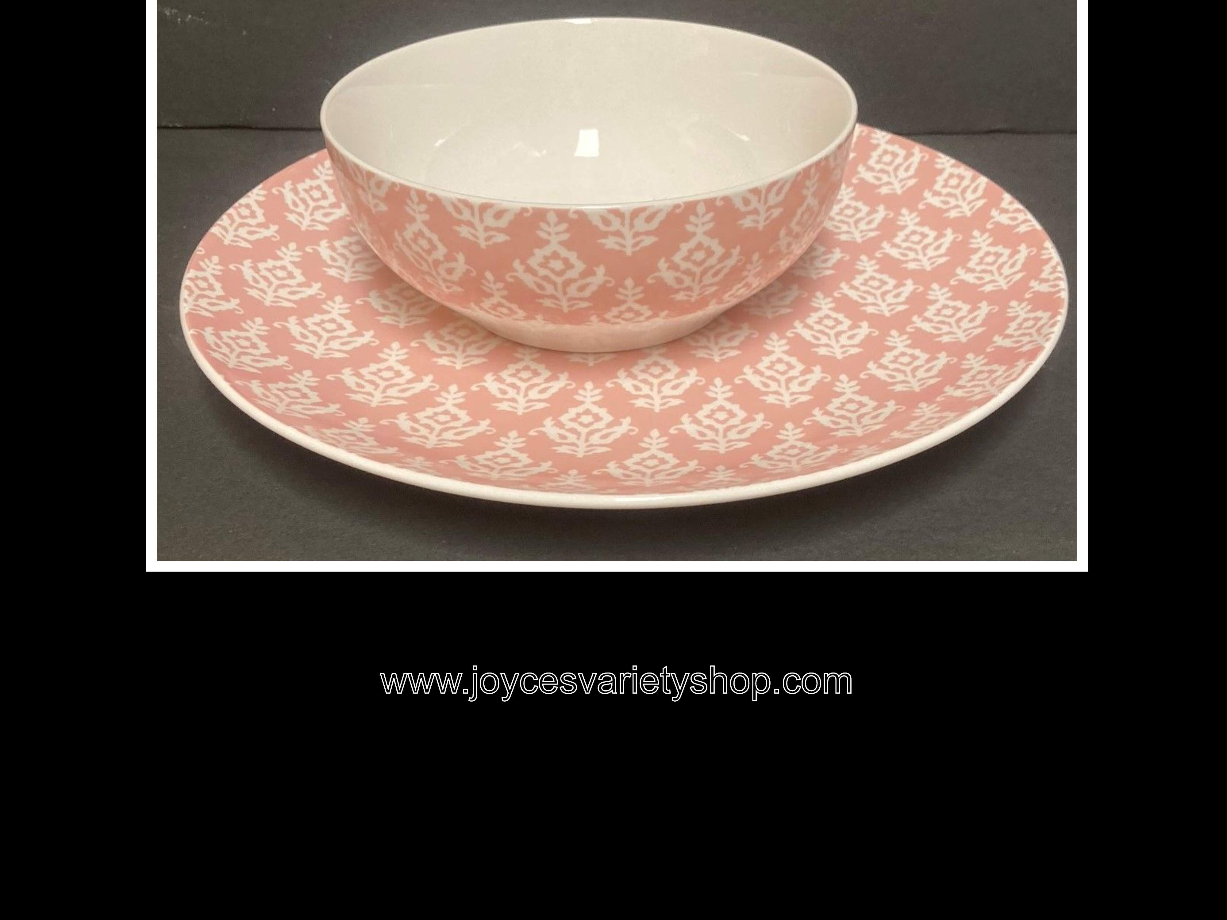 Mainstays Pink India Pearl Blush Dinner Plates & Salad Bowls Set of 4