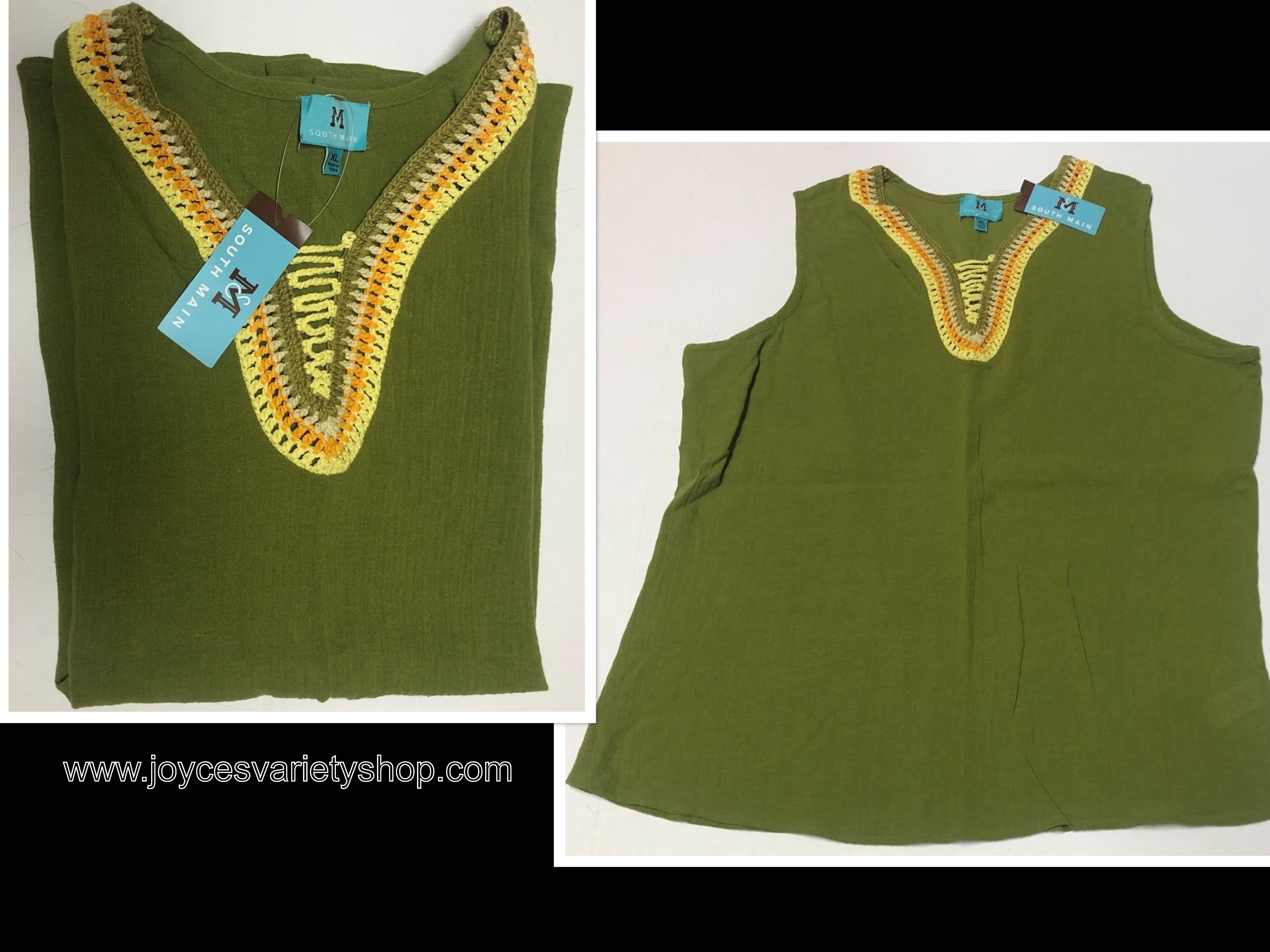 South Main Women's Blouse Top Tank Adult XXL, XL Cotton Crochet Olive Green