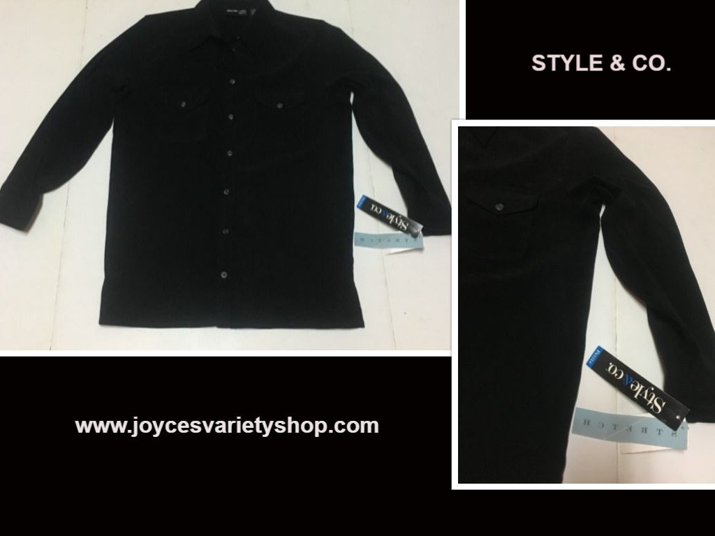 Style & Co. Petite Black Moleskin Blouse Shirt Top Sz Small