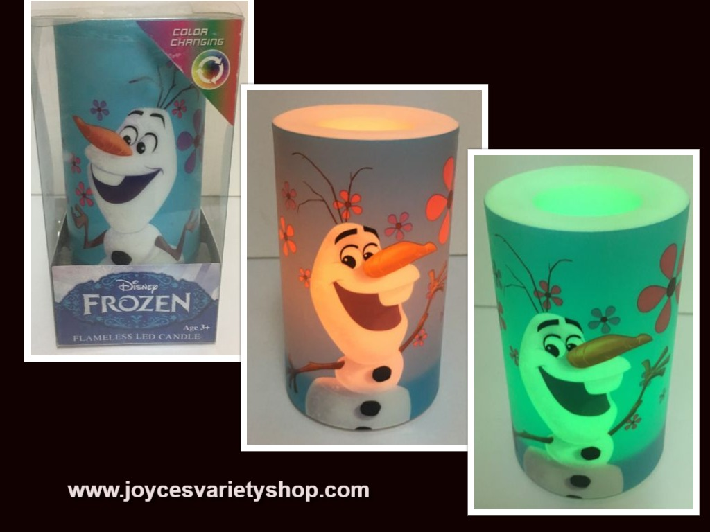Flameless LED Candle Frozen Olaf Flicker Color Changing NIB AA Batteries