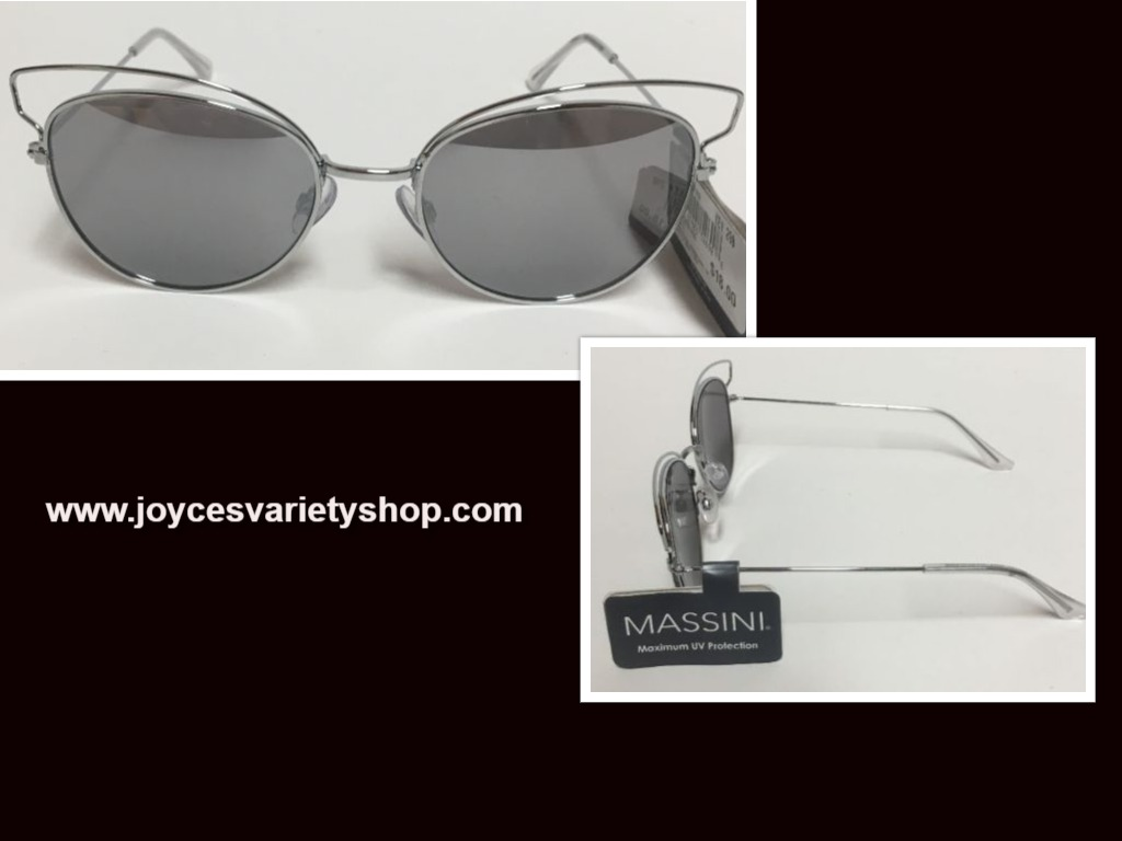 Massini Silver Metal Mirrored Sunglasses Max UV Protection