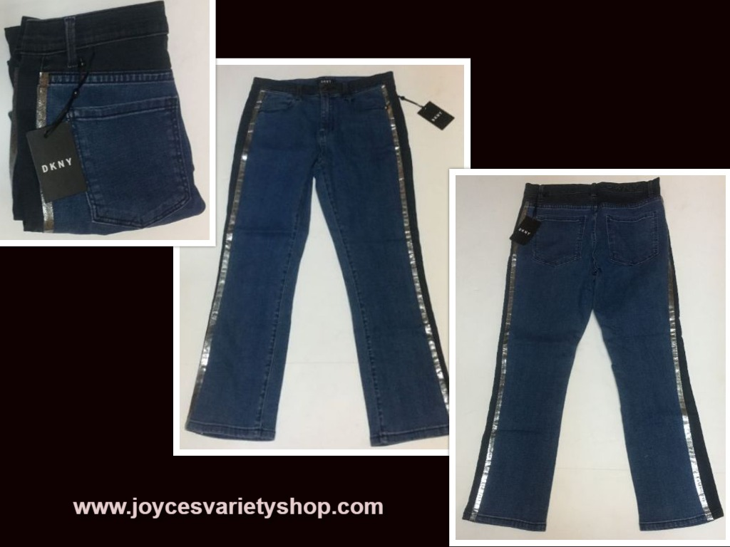 "DKNY Juniors Blue Jeans Sz 27"" x 24"" Metallic Side Stripe"