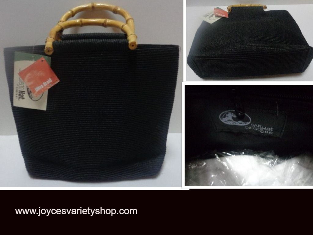 San Diego Hat Co Bamboo Ultra Braid Purse Black Solid