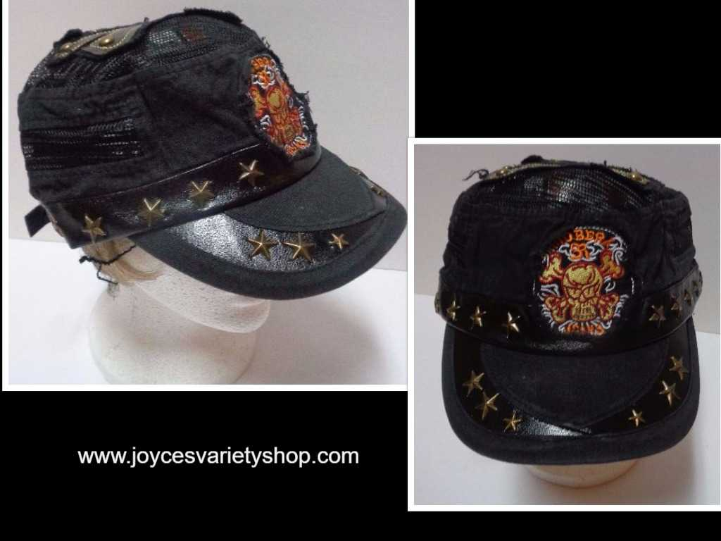 Black Jean Skull Military Cap Hat NEW Adult Size Adjustable