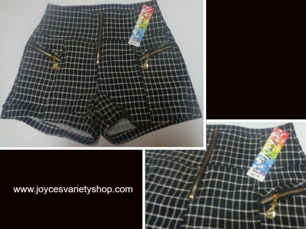 JUST FOR YOU Black & White Mini Short Shorts Juniors SZ S