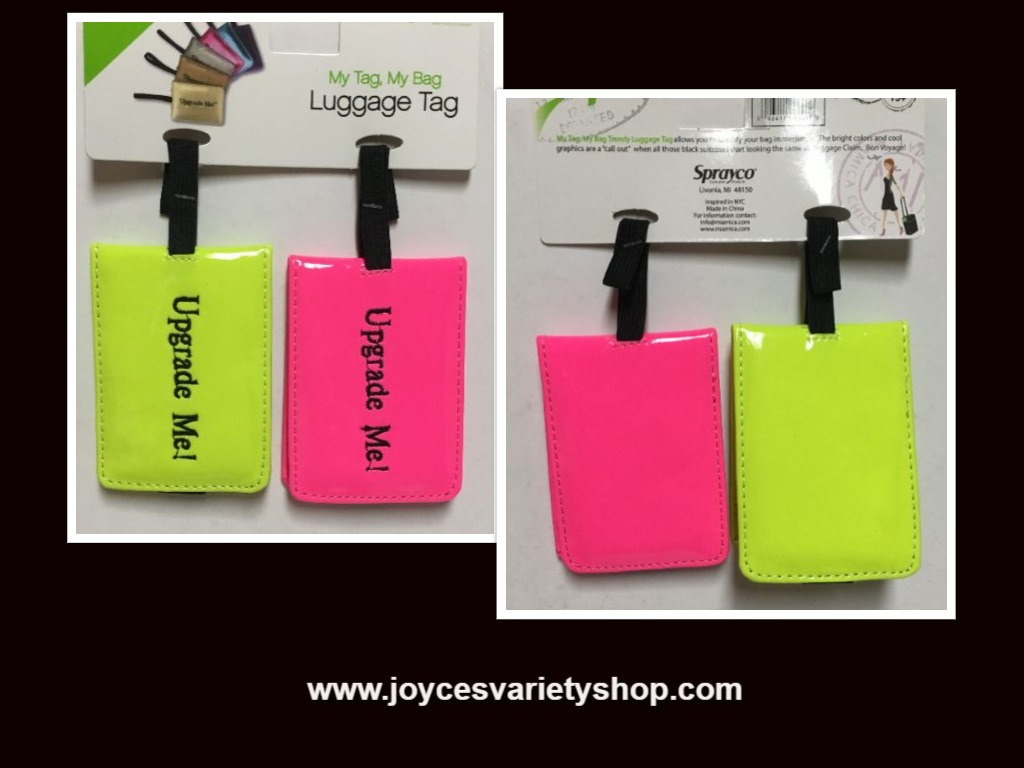 Neon Luggage Travel Tags Set of Two Pink & Yellow