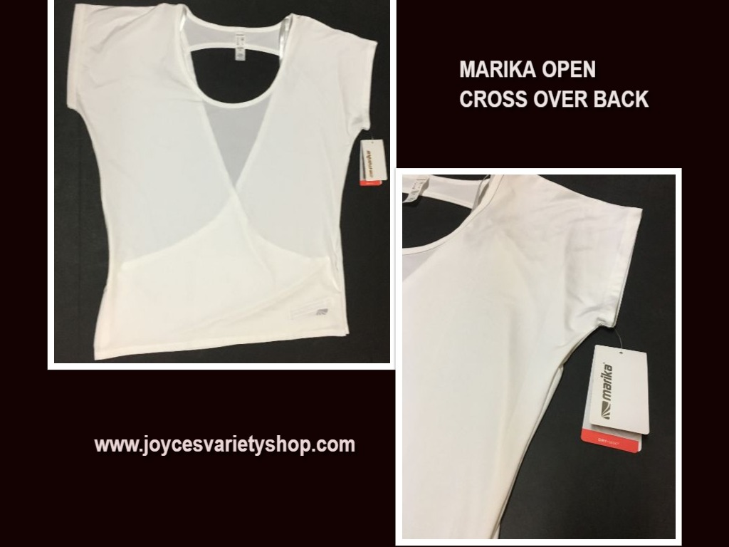 Marika Performance Dry Wik Top Blouse White Open Cross Over Back Sz L