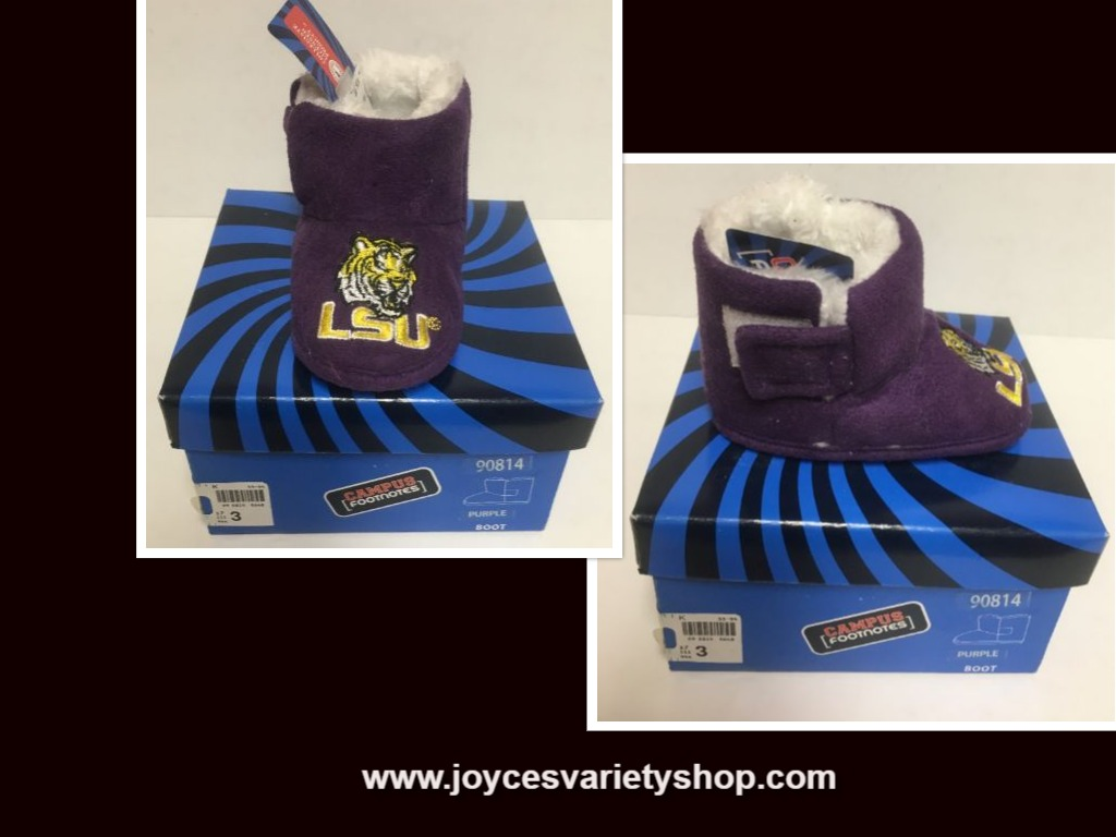 LSU Campus Footnotes Infant Louisiana State University Boots Sz 3 Non Slip
