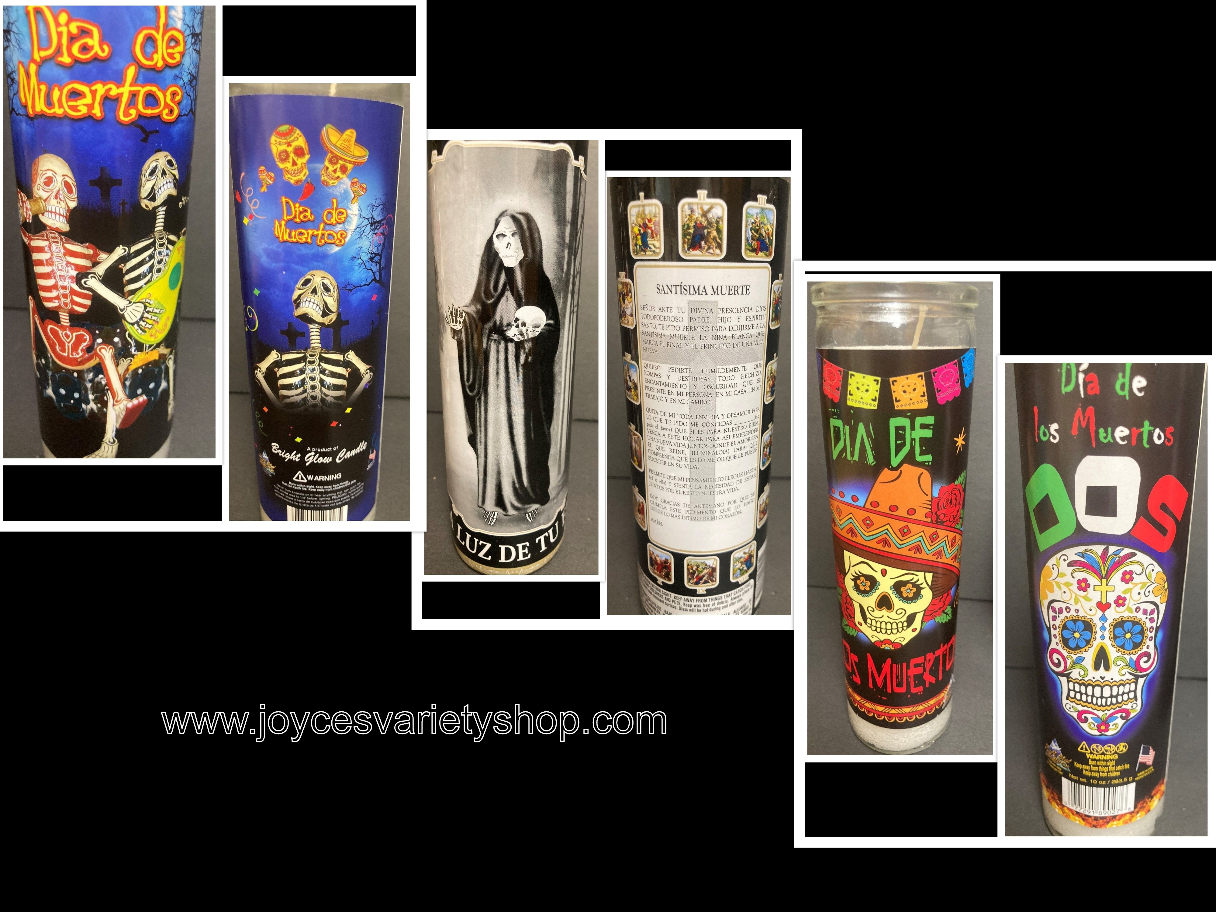 Day of Dead Glow Candle Wick & Wax Both Sides Decor Dia De Muertos Santa Muerte