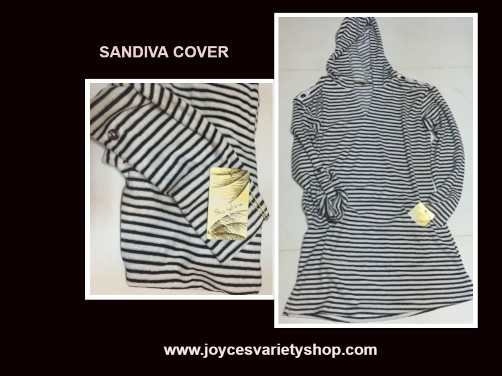 Sandiva Hoodie Swim Cover Black & White Striped NWT SZ XS