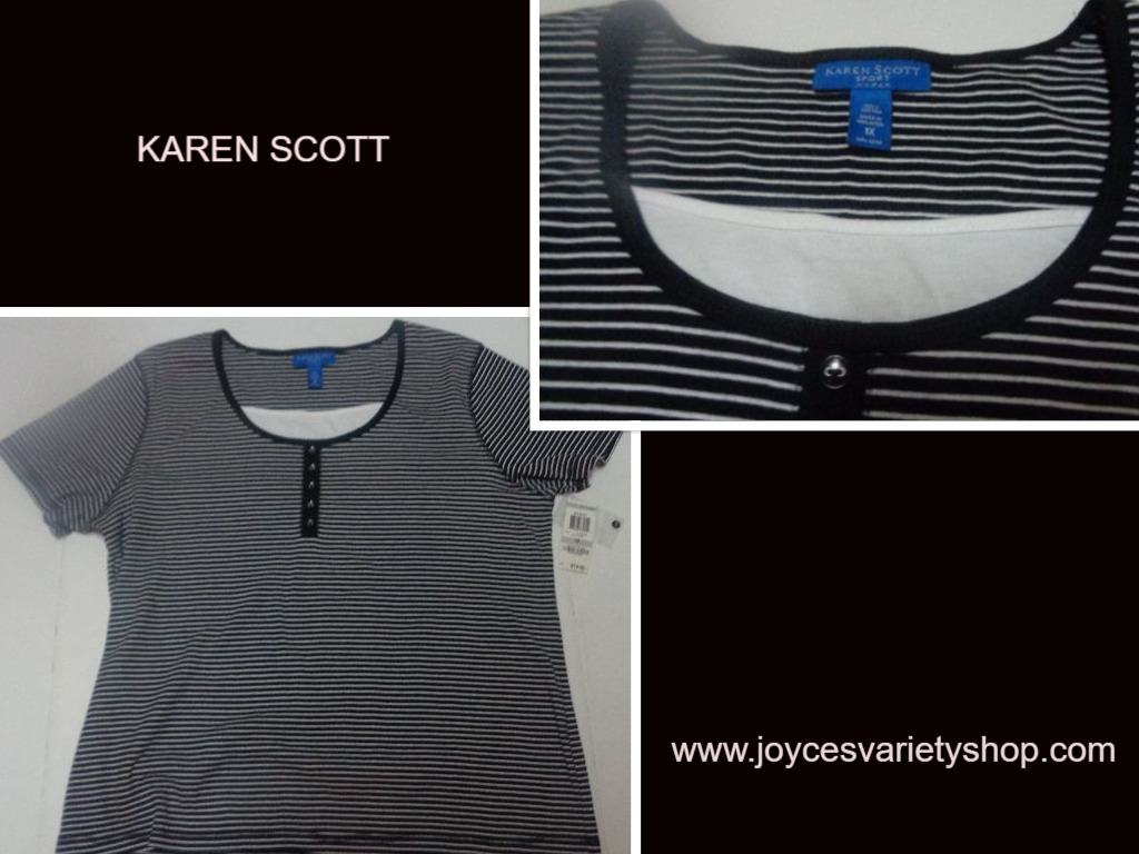 Karen Scott Women's Blouse Top Shirt Black & White Striped SZ 1X