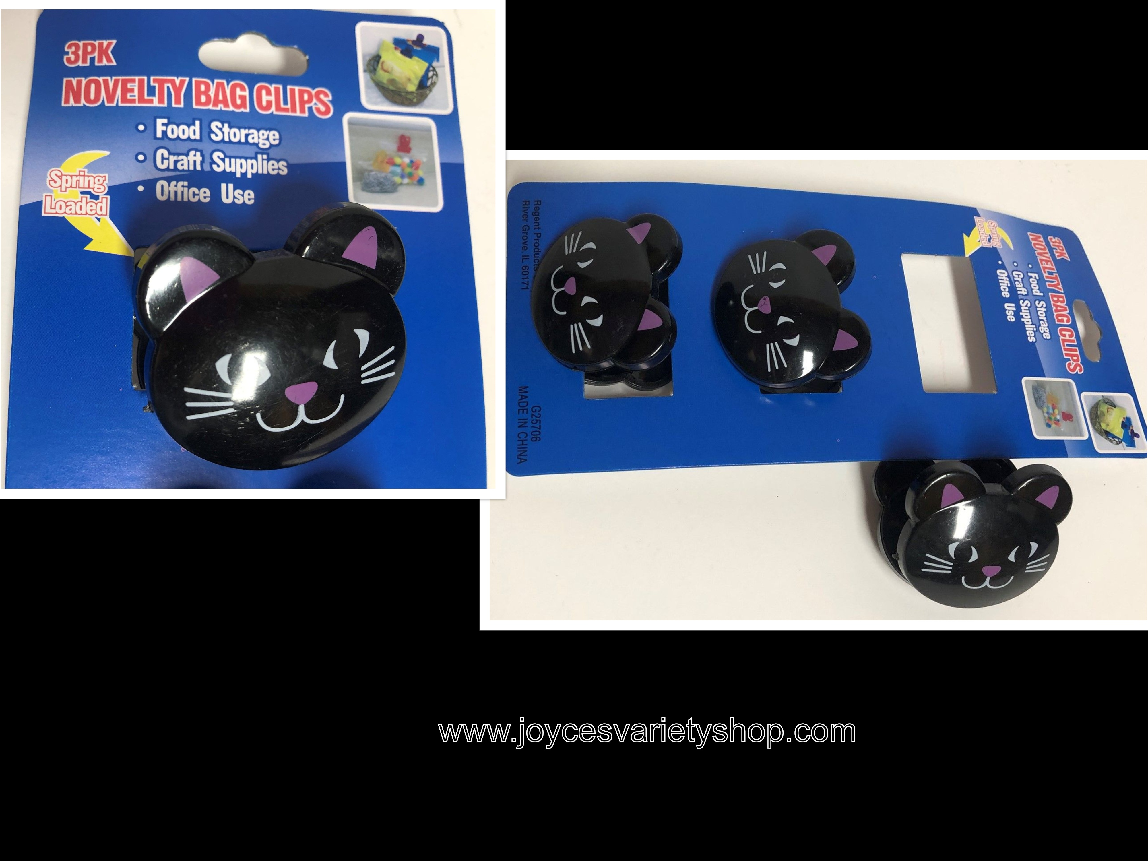 Black Cat Kitty Clips Bag Clips Food Storage Crafts Office Set of 3 Novelty