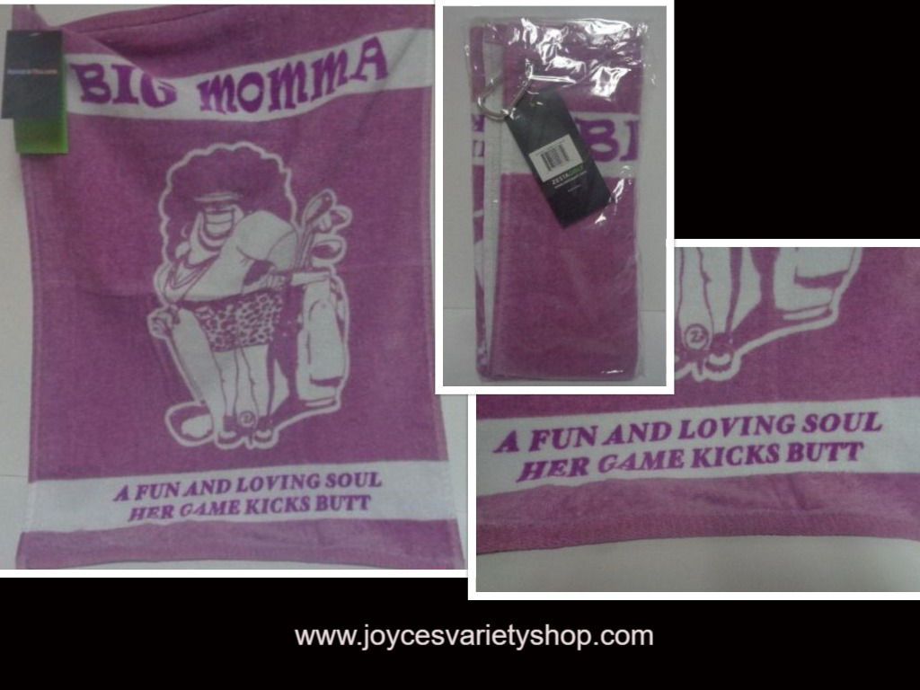 Big Momma Purple Golf Towel Heroes & Villains NWT Velour Terry Carabineer Clip