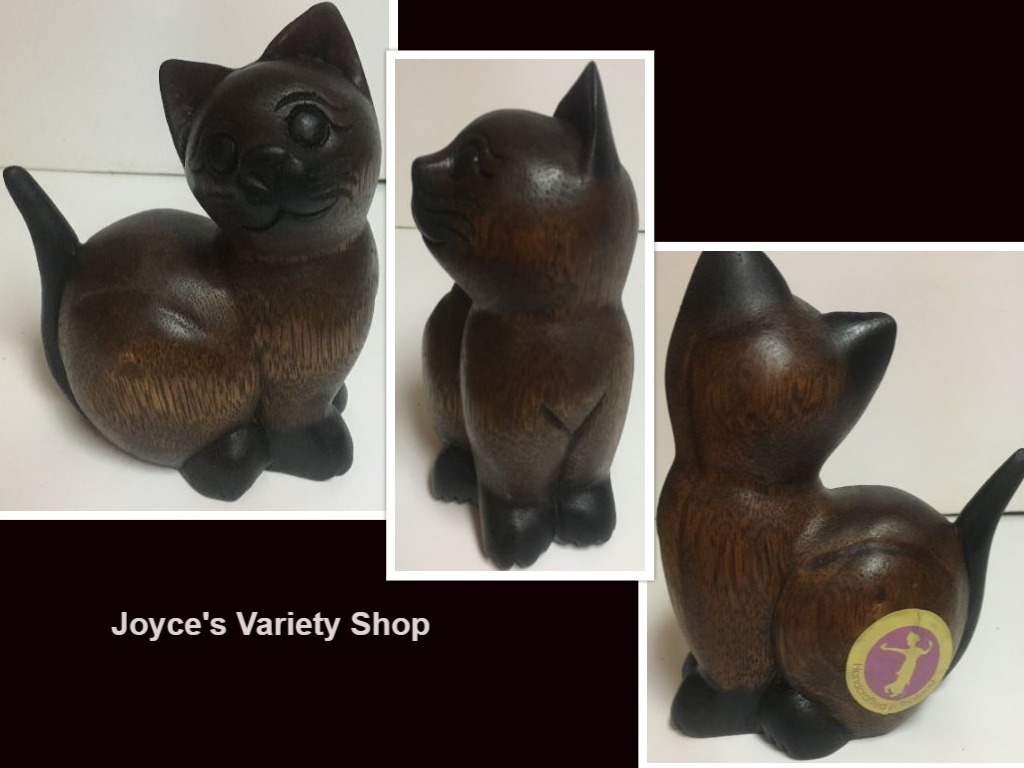 "Hand-Carved Wood Kitty Cat Figure 6"" x 5"""