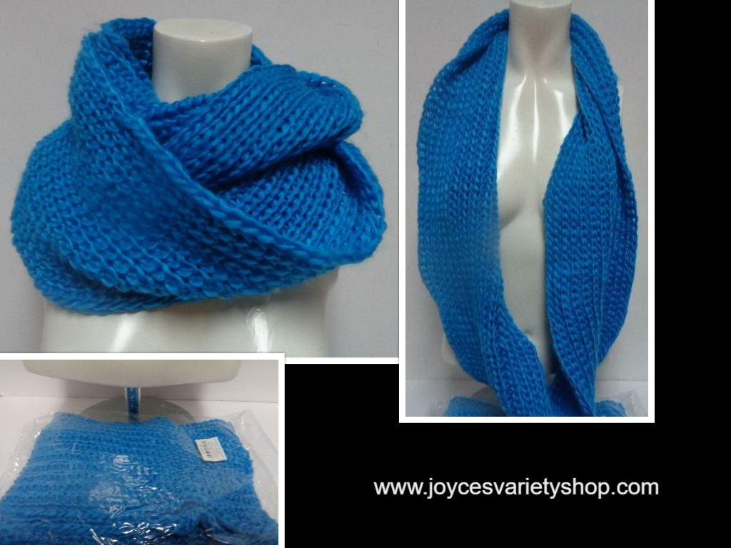 "Winter Scarf Brilliant Blue NWT Women's Sz Adult 27"" Infinity Style"