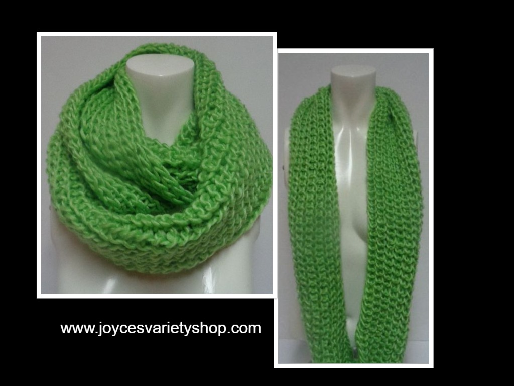 "Winter Scarf Lime Green NWT Women's Sz Adult 27"" Infinity Style"