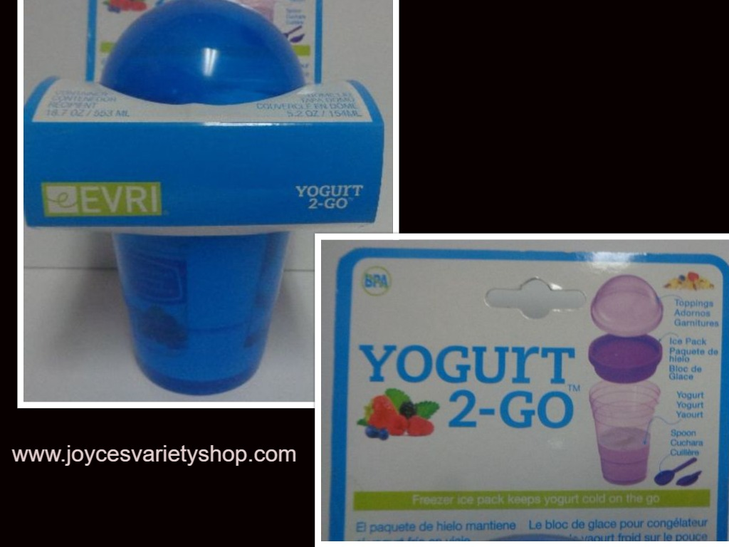 Everi Yogurt 2 Go Travel Container NWT BPA Free 3 Compartments Blue 18.7 oz
