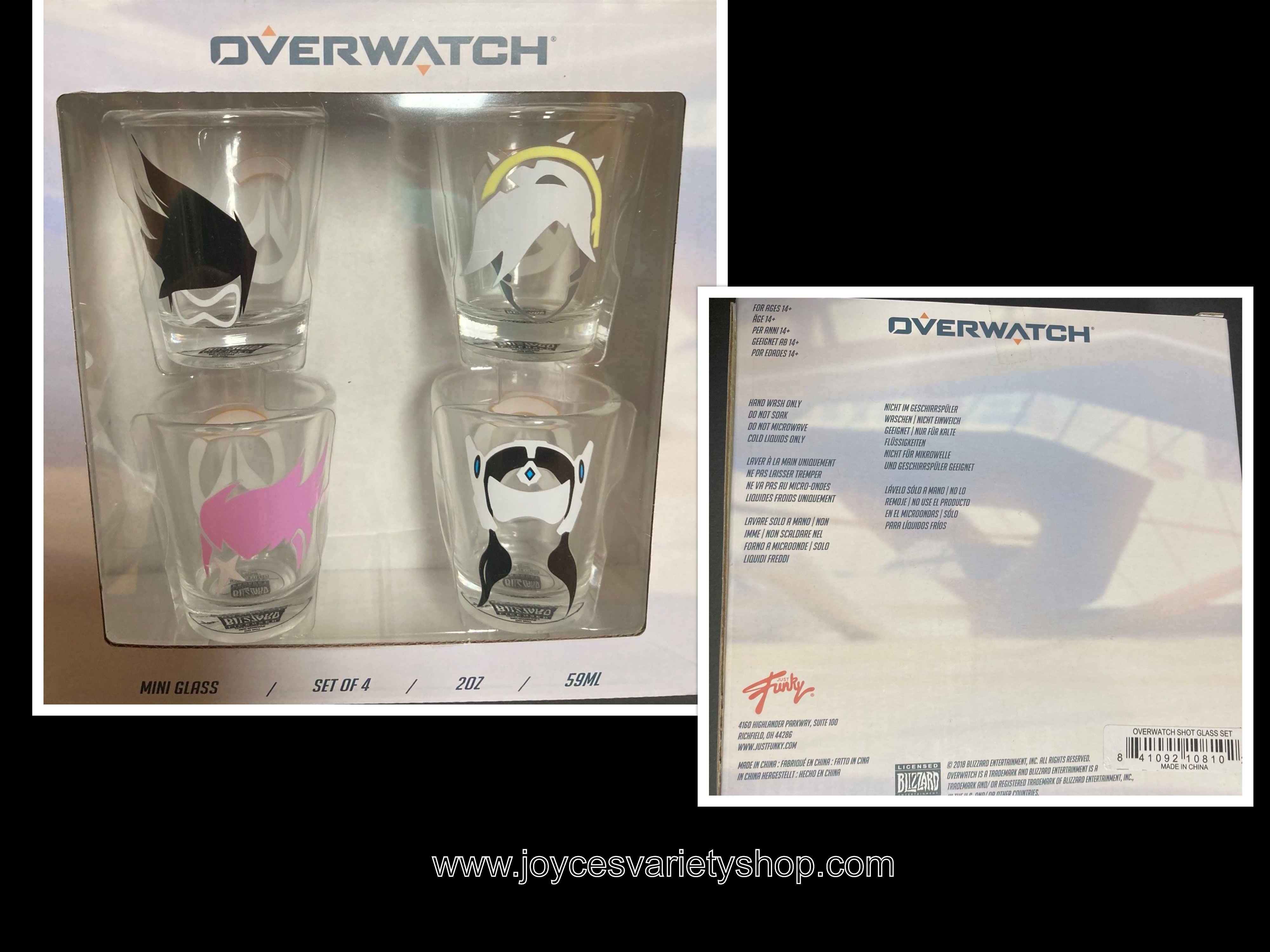 Overwatch Shot Glasses 2 oz Includes Tracer, D.Va, Mercy, Symmetra Characters