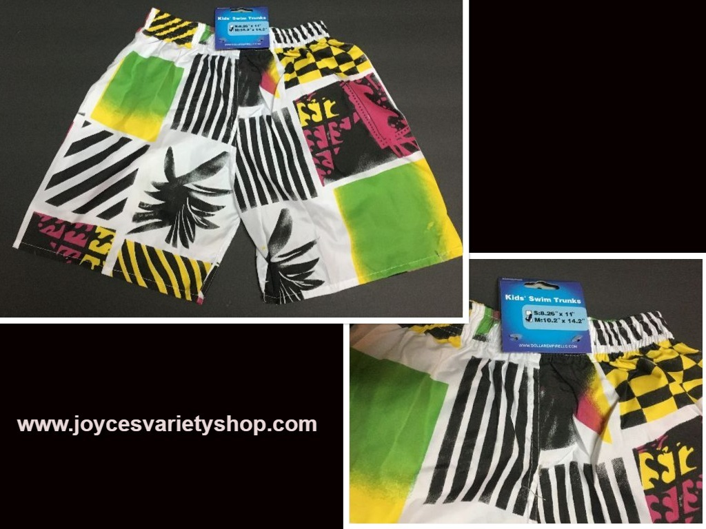 "Boy's Swim Shorts Trunks Multi-Color Geometrical 10.2"" x 14.2"" SZ 3/4 Toddler"