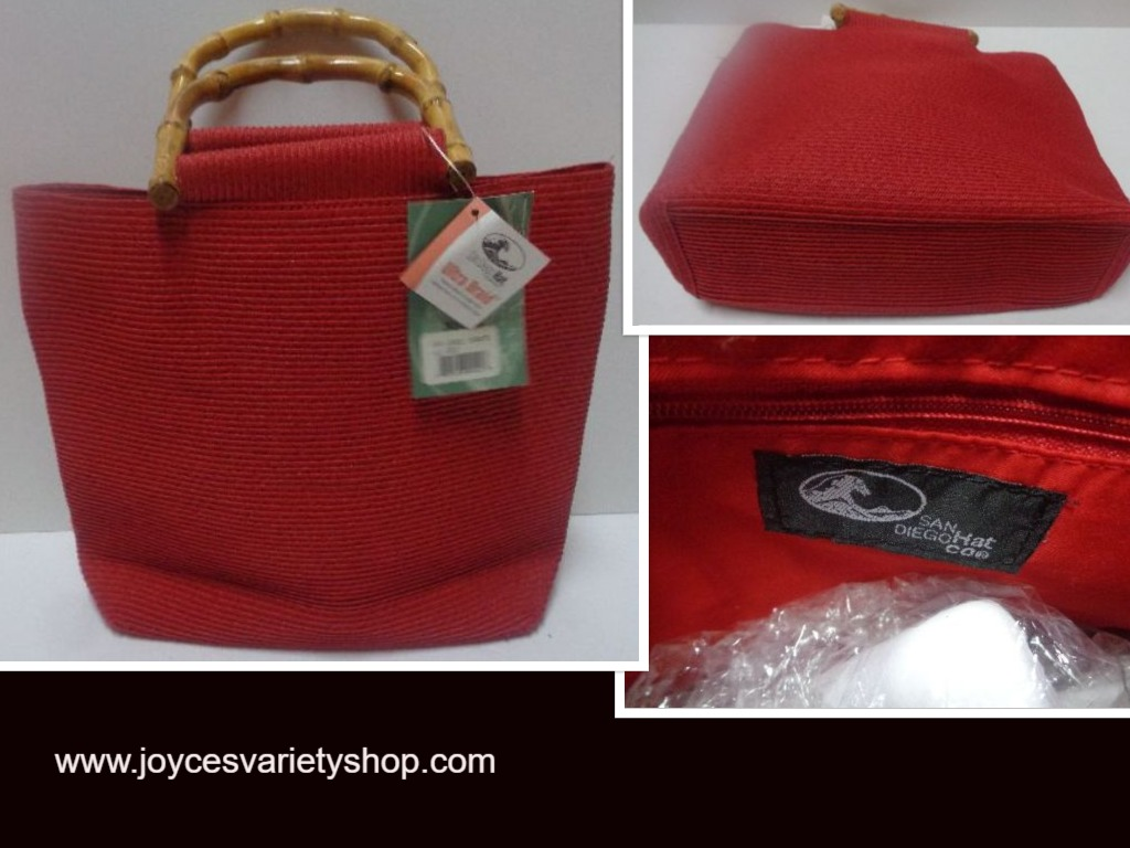 San Diego Hat Co Bamboo Ultra Braid Purse Red Solid