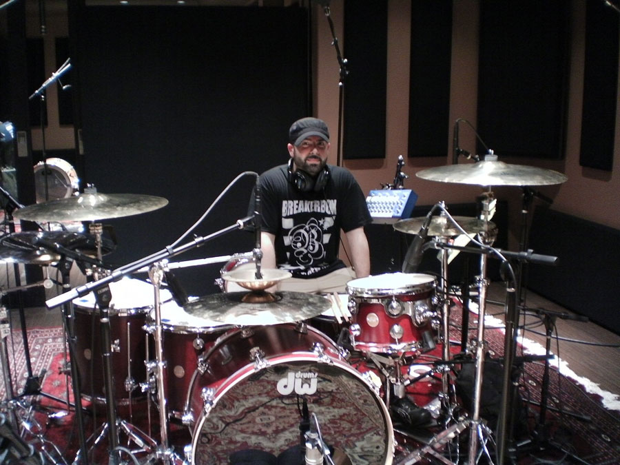 Scott tracking drums at Tommy Lee's Atrium Studios