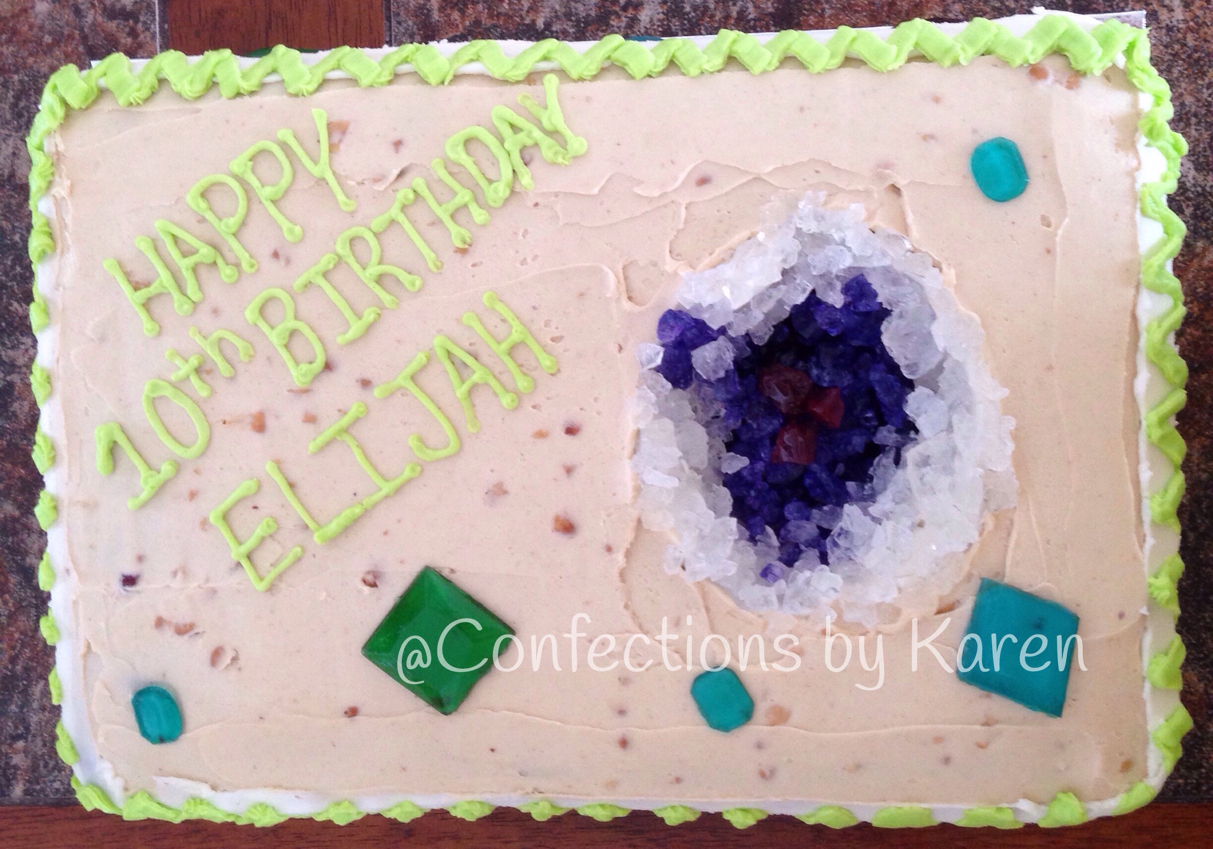 Chocolate cake filled/frosted with Peanut Butter Buttercream, isomalt gemstones, rock candy geode