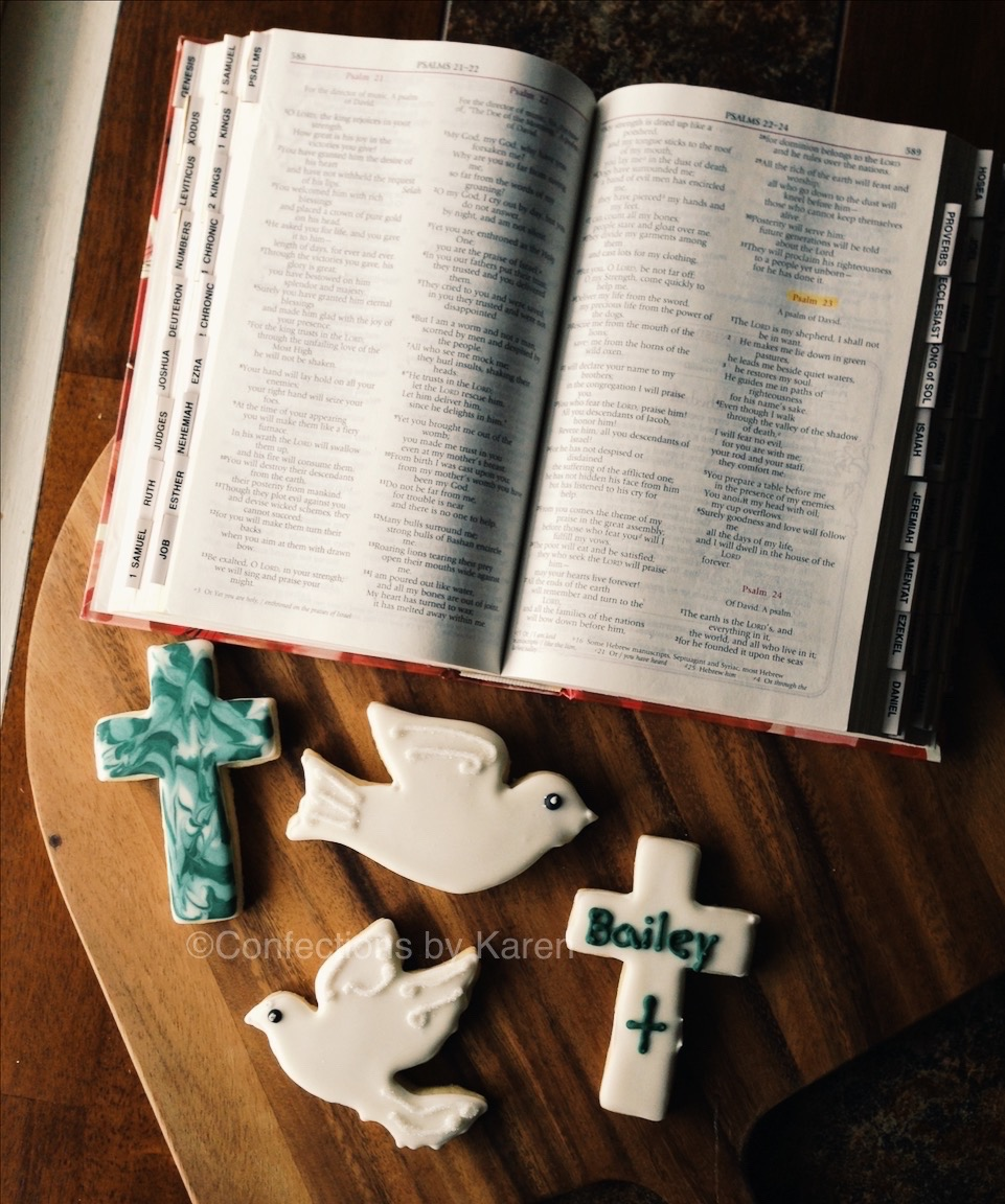 Crosses and dove sugar cut-out cookies