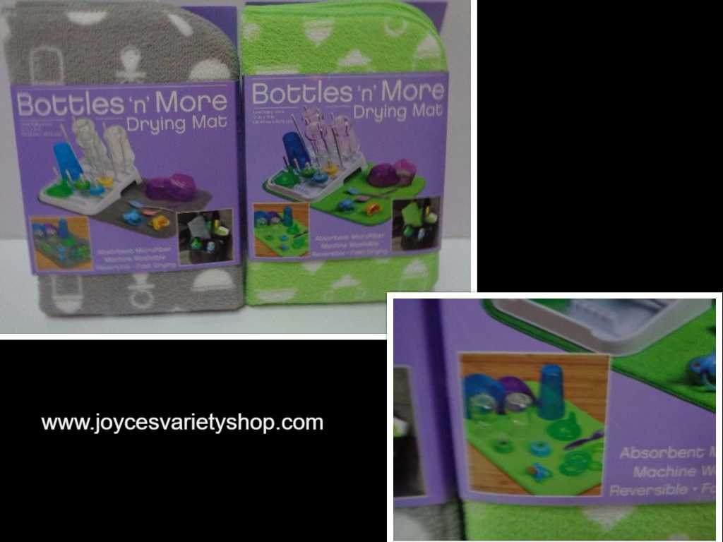 "Bottles 'n' More Drying Mat NWT 15"" x 18"" Gray or Lime Green Reversible Fast Dry"