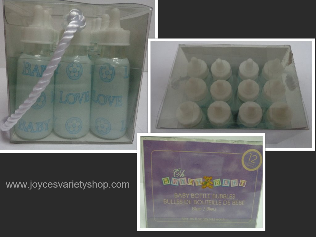 Boy Shower Gifts Blue Bubbles Baby Bottles NIB Set of Twelve
