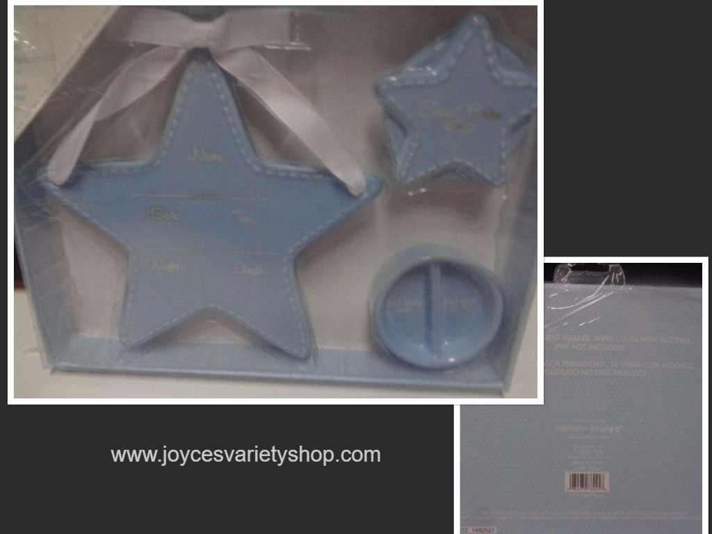 Ceramic Baby Boy Keepsake Set Blue NIB Stars Stepping Stones C.R.Gibson