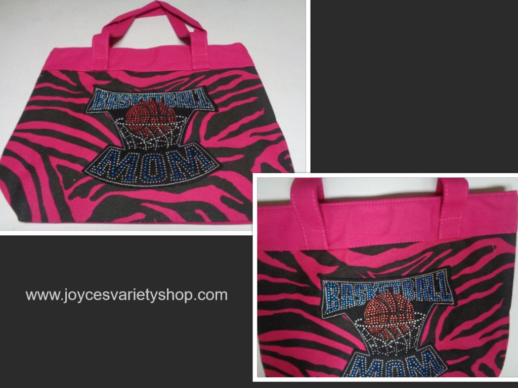 Basketball MOM Tote Bag Pink Zebra Print BASKETBALL MOM On Front NIP Large