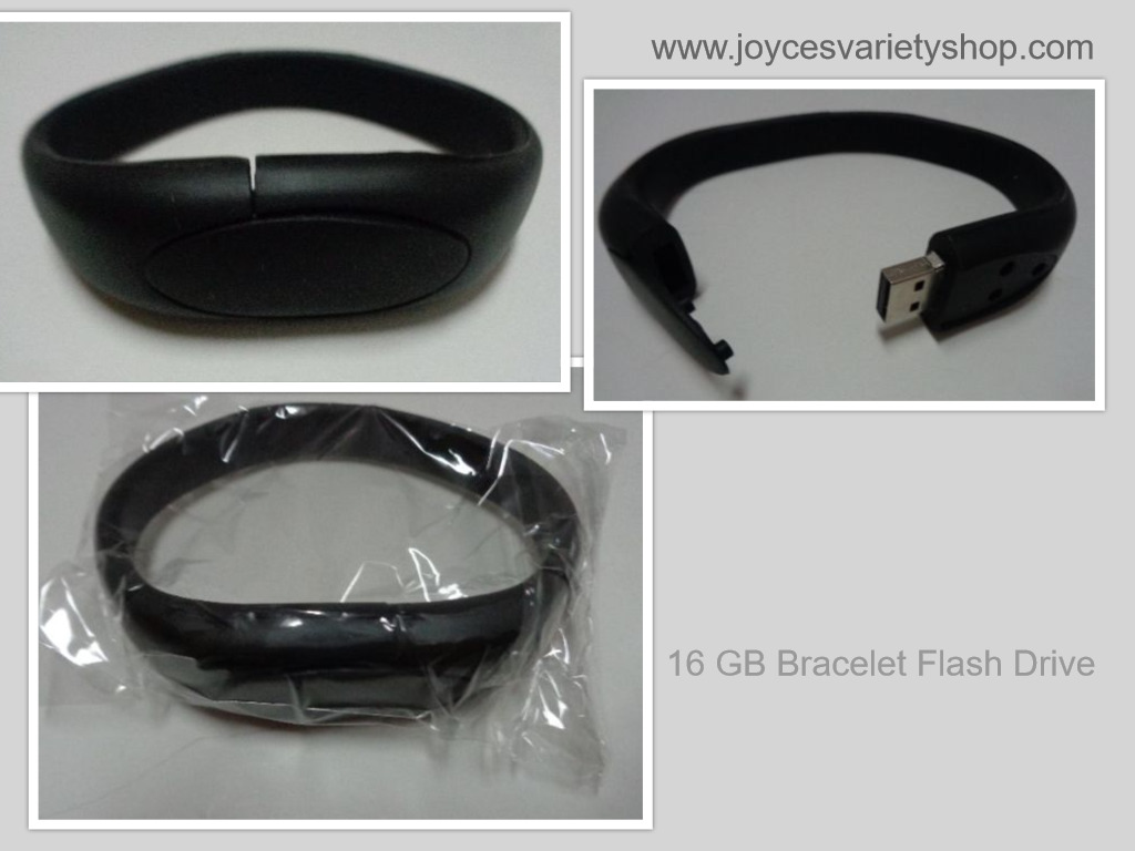 16 GB USB 2.0 Memory Stick Flash Pen Drive Black Wristband Bracelet