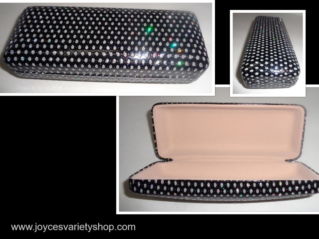 Black Accented Sunglasses Glasses Hard Case NWT 6""