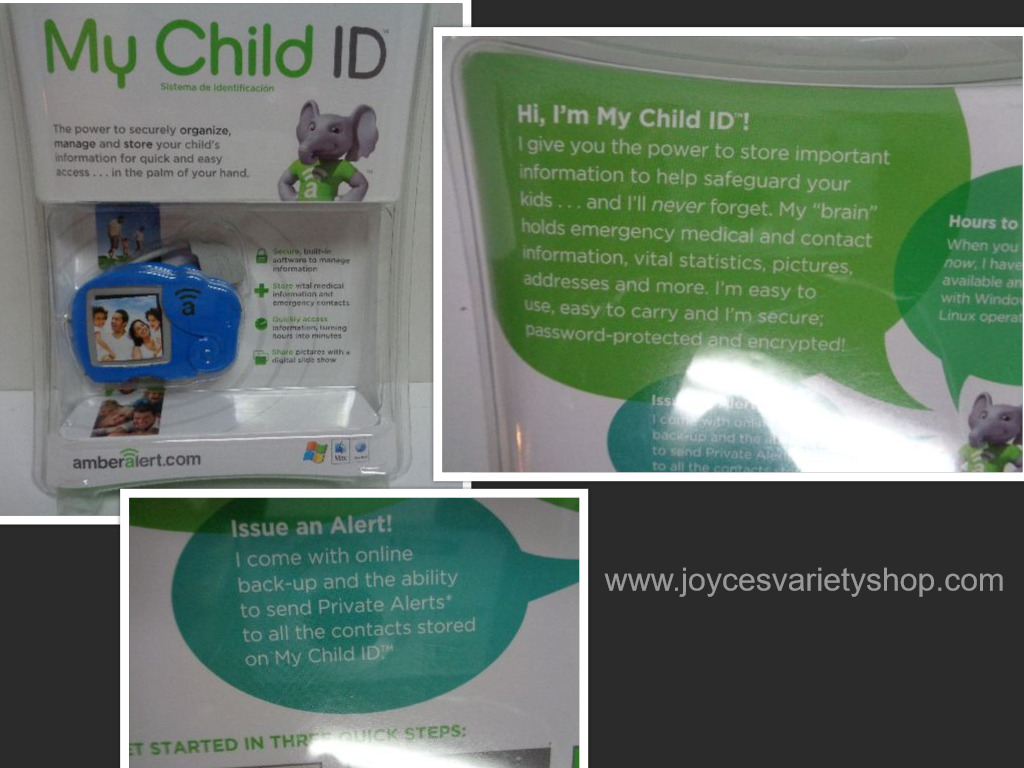 New Amber Alert My Child ID Safeguard Child Vital Information Blue Elephant USB