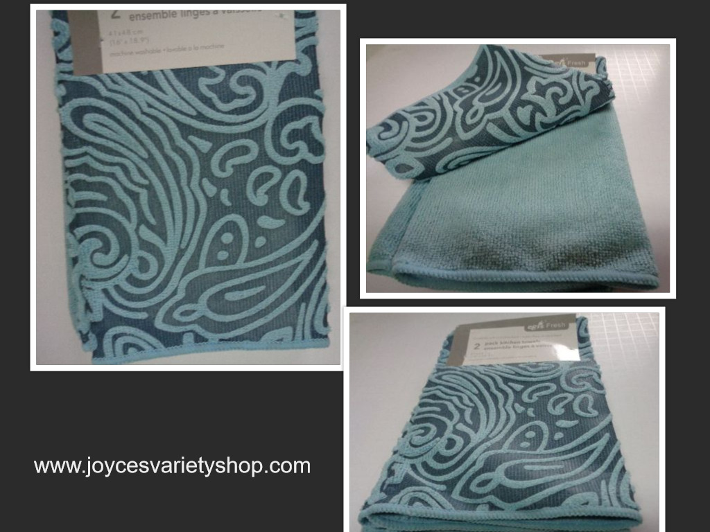 "Textured Plush Kitchen Towel 2 Pack Aqua Blue 16"" x 18"""