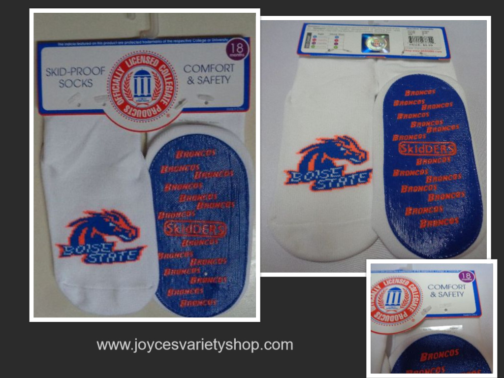 Skidders Toddlers No Skid Boise State Broncos Socks NWT Sz 18 Months