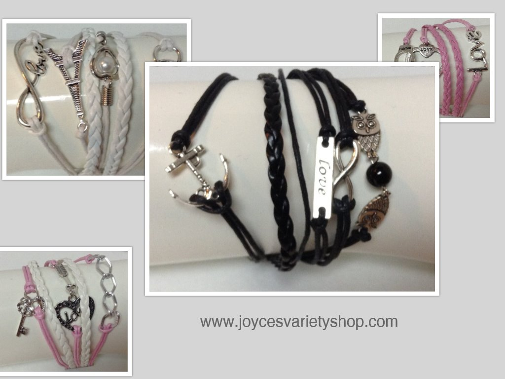 Black Leather Bracelet Owl