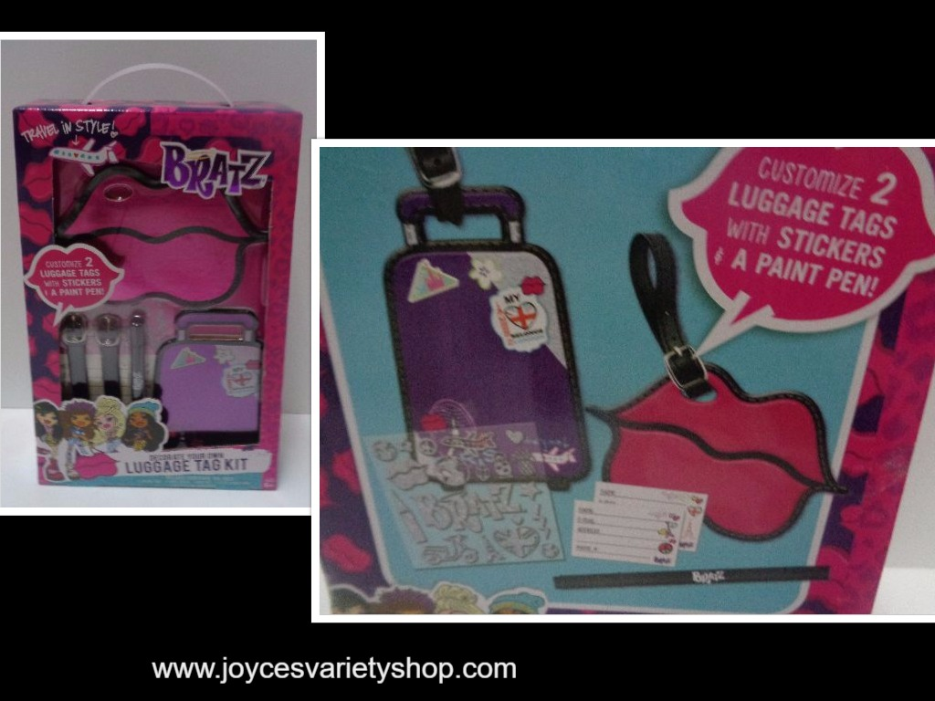 BRATZ Luggage Travel Tag Kit NIB Purple Stickers Paint Pen