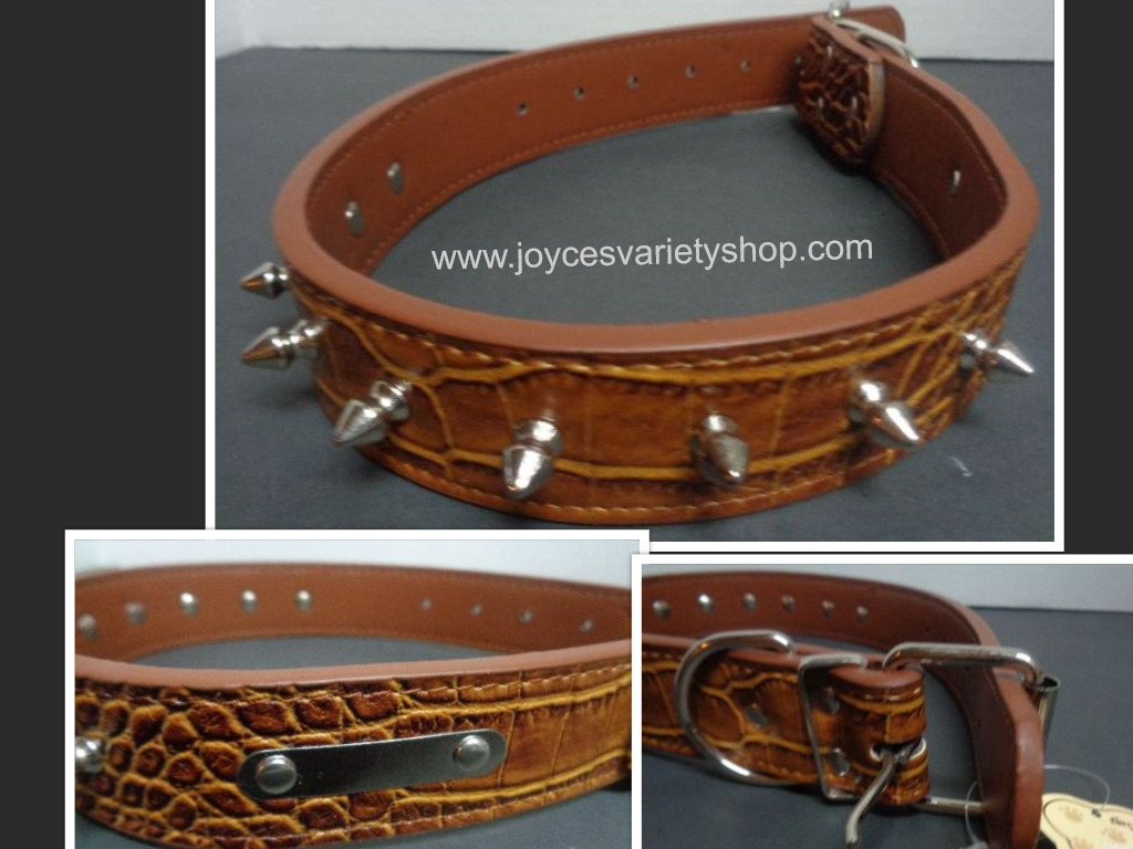 Large Breed Spike Dog Collar NWT Heavy Duty Adjustable Brown 23""