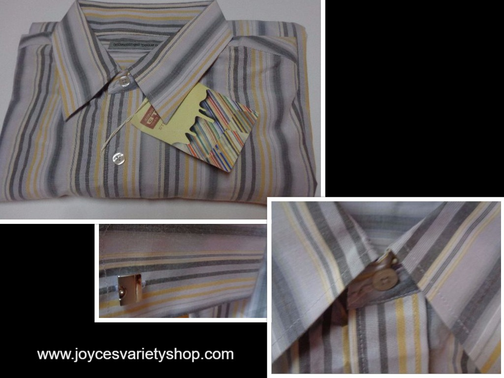 Men's Long Sleeve Dress Shirt Gray & Yellow Striped NWT Sz L Beyond The Limit