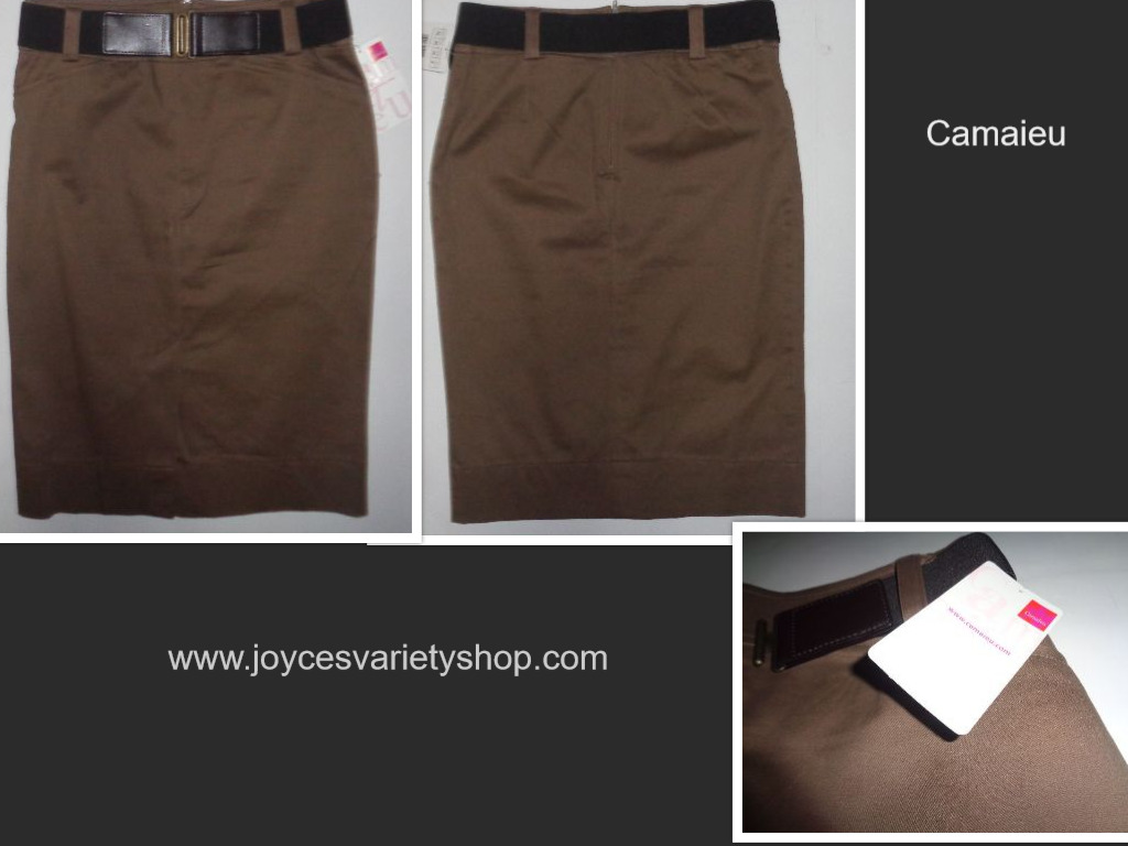 Camaieu Brown Pencil Skirt Black Belt NWT Sz 6