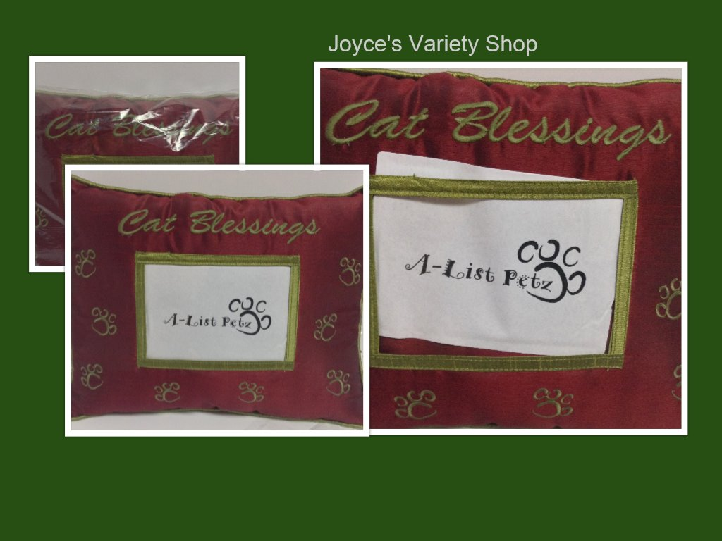 "Pet Pillow With Photo Pocket CAT BLESSINGS Red 15"" x 12"""