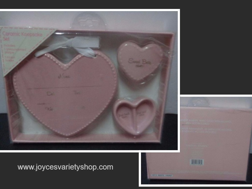 Ceramic Baby Girl Keepsake Set Pink NIB Stepping Stones C.R.Gibson Hearts