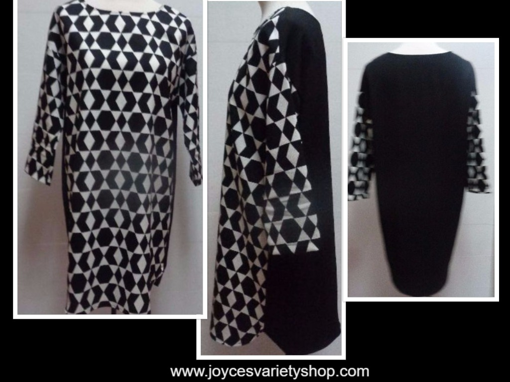 Women's Black & White Geometric Shirt Dress NWOT SZ Small