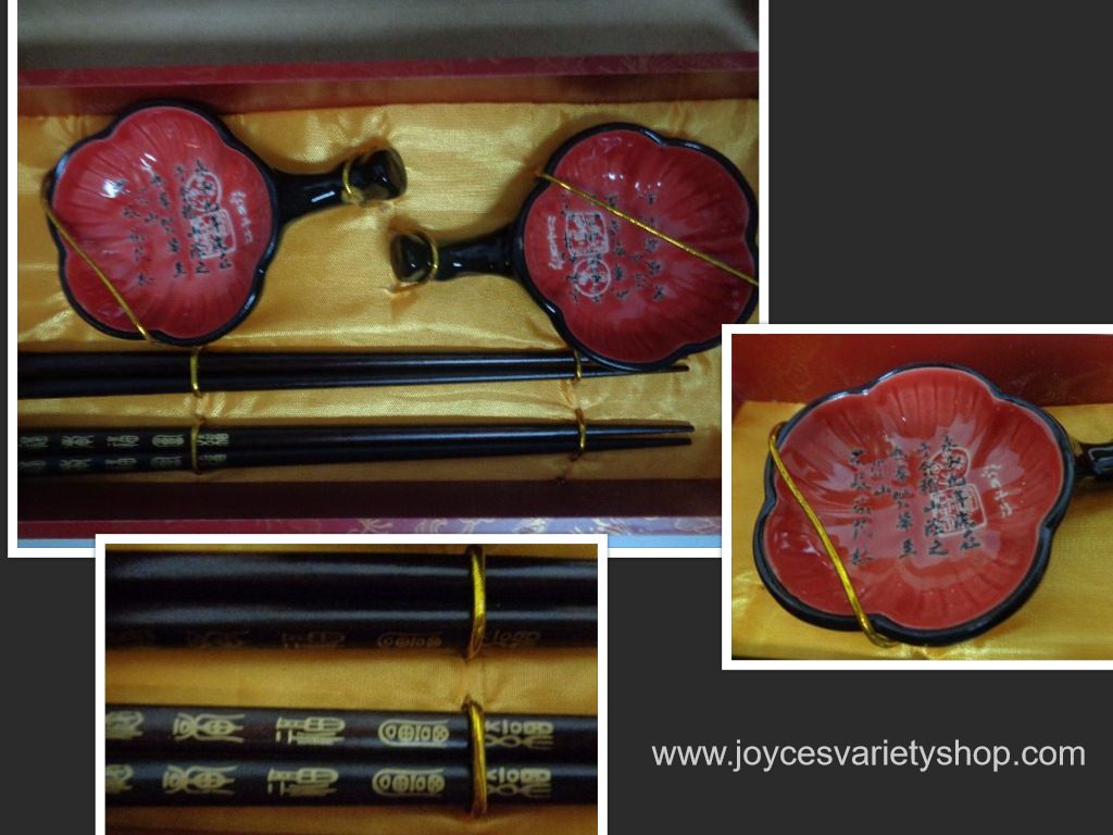 Chopsticks Sauce Bowls NIB Set For Two
