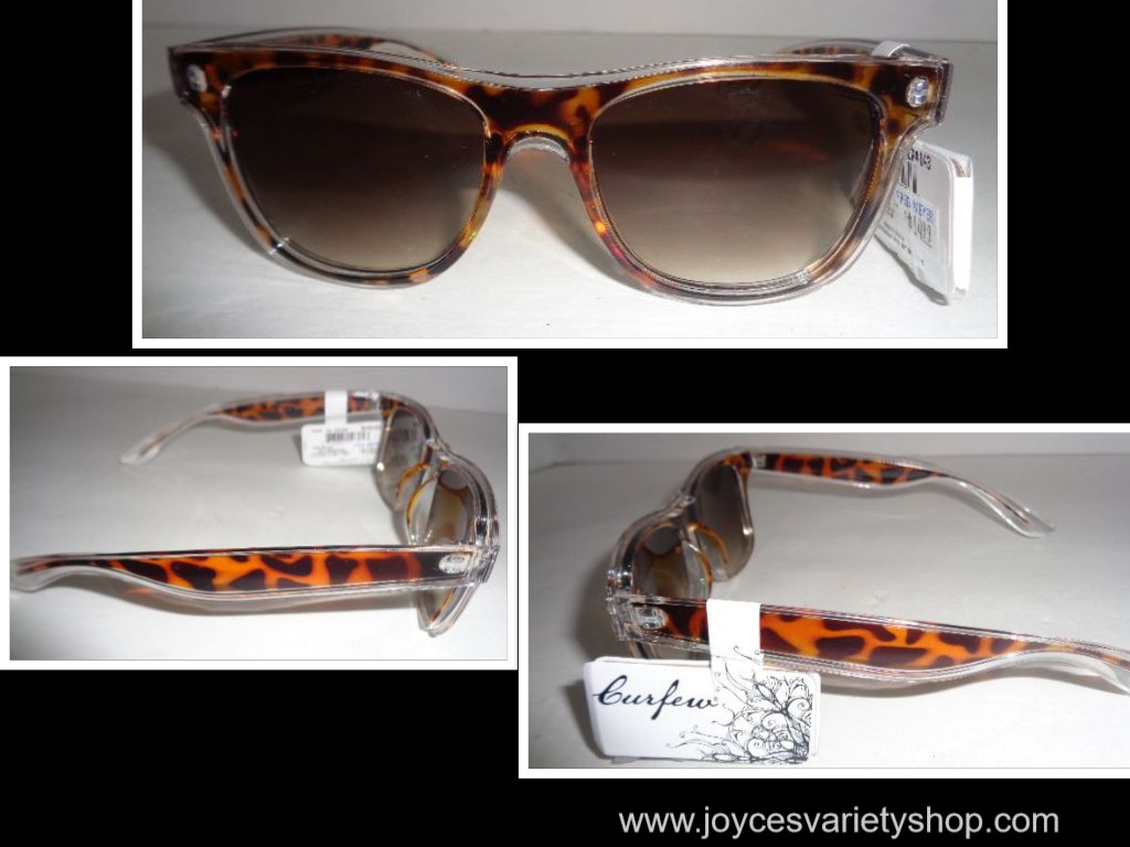 Curfew Sunglasses Animall Print Brown & Gold Metal NWT 100% UV Protection