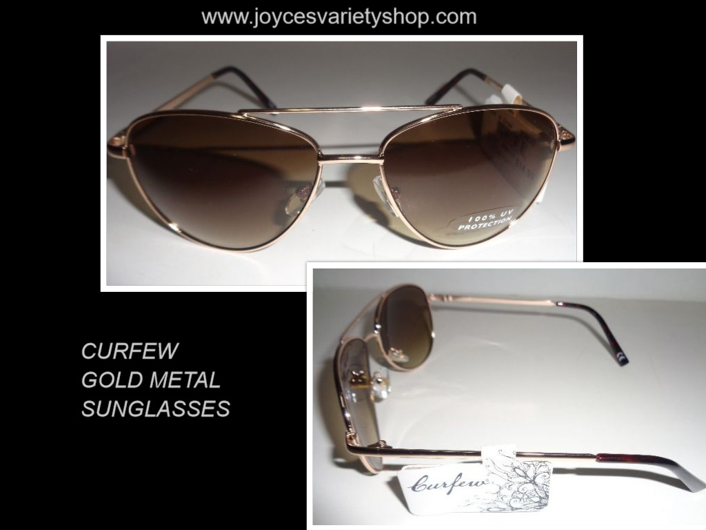 CURFEW Sunglasses Gold Metal Frame NWT 100% UV Protection